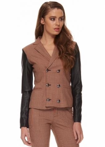 Nicolella Orange Houndstooth Double Breasted Leatherette Jacket