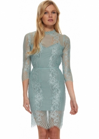 For Love & Lemons Rosette Dress In Sage Lace With Open Back