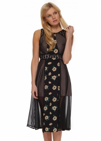 Jarlo Ali Dress In Black Chiffon With Floral Panel & Keyhole Back