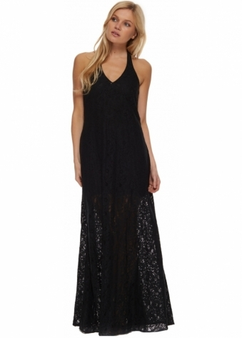Kate Black Lace Halter Neck Maxi Dress