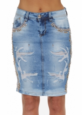 Dishe Diamonte & Gold Stud Frayed Light Blue Denim Midi Skirt