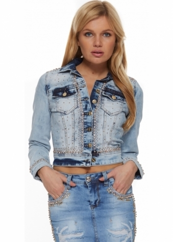 Gold Stud & Diamonds Two Tone Cropped Denim Jacket