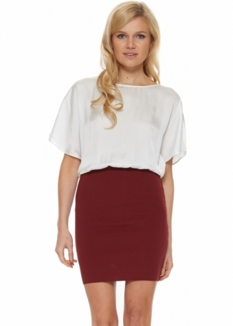 Avnet Dress With Burgundy Tube Skirt & White Blouse Top
