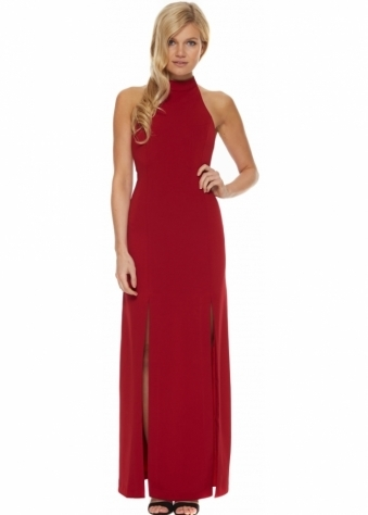 Jarlo Orla Red Halter Neck Twin Split Maxi Dress