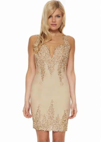 Arianna Dress In Nude With Unique Hand Painted Gold Design