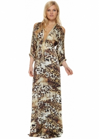 Baccio Shy Dress In Cream Leopard Print With Crystals & Gold Trim