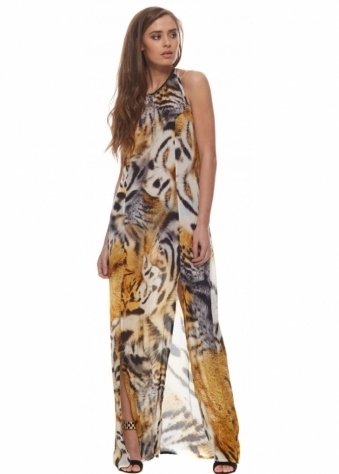 Safari Bengal Tiger Print Halter Neck Split Leg Maxi Dress