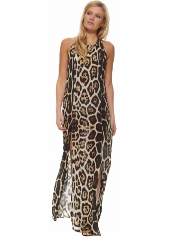 Safari Jaguar Print Halter Neck Split Leg Maxi Dress
