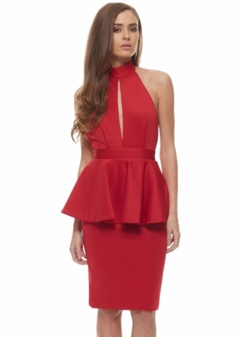 Rebecca Rhoades Red Halter Neck Split Front Peplum Midi Tara Dress