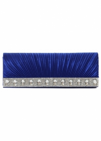 Shayla Diamante Royal Blue Ribbed Satin Clutch With Chain