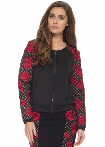 Waldemar Red Roses Embroidered Black Jacket