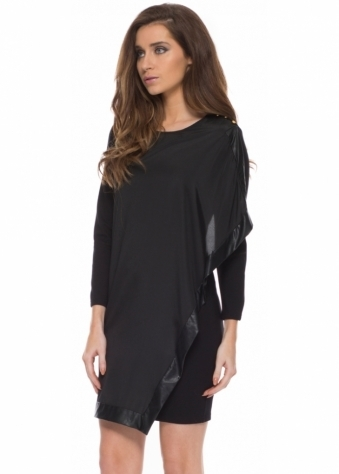 Yoram Drape Front Black Mini Dress