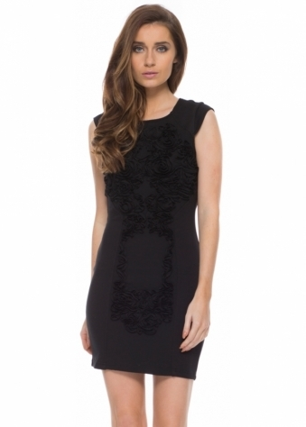 Koda Embossed Raised Floral Rosettes Black Mini Dress