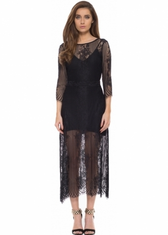 For Love & Lemons San Marcos Black Lace Maxi Dress With Open Back