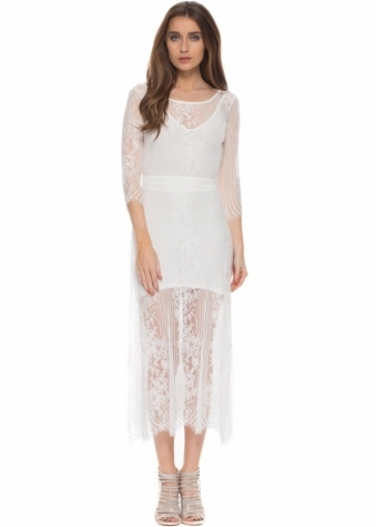 For Love & Lemons San Marcos White Lace Maxi Dress With Open Back