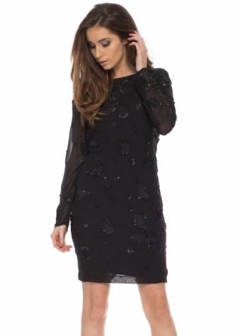 Ashes To Ashes Black Beaded Cowl Back Mini Dress