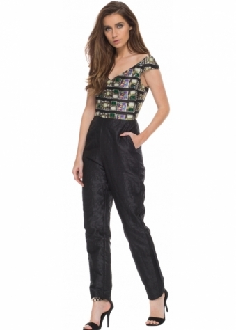 Donelle Tailored Jumpsuit With Bardot Neckline & Beaded Bodice