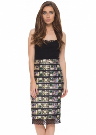 Pearls & Portraits Ines Skirt In Silk Jewel Print With Lace Hem