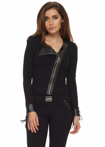 Danika Black Asymmetric Front Corset Back Jacket