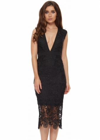 Stunning Black Lace Bunny Pencil Dress