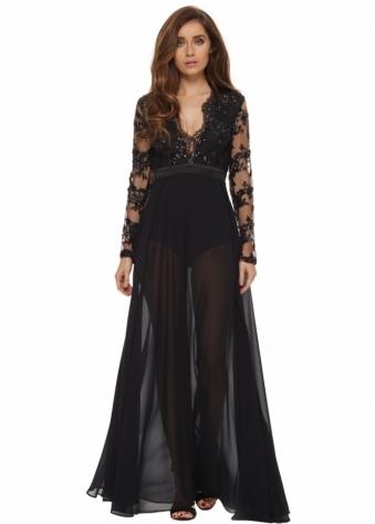 Black Chantel Dress With Sequinned Bodice & Twin Splits