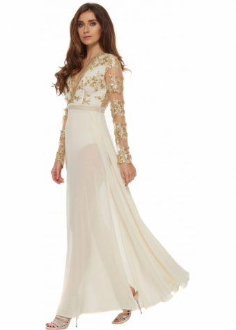 Cream Chantel Dress With Sequinned Bodice & Twin Splits