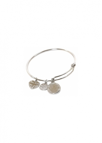 Sparkling Jewellery The Iconic Charm Bangle In Platinum Silver
