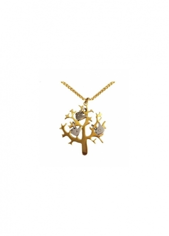Tree Of Life Necklace In Gold With Silver Bird Charms