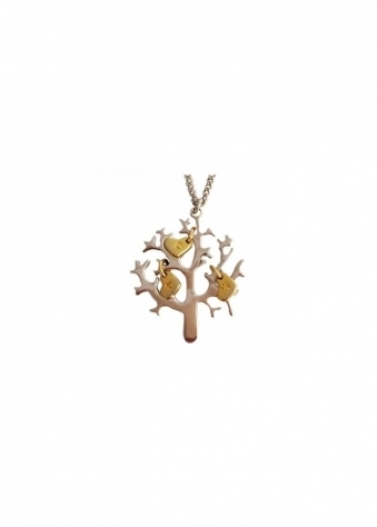 Tree Of Life Necklace In Silver With Gold Bird Charms