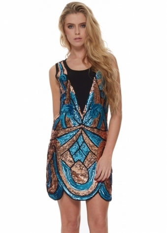 Designer Desirables Turquoise & Bronze Sequinned Flapper Party Dress