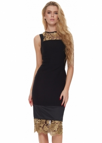 Vesper Crystal Collection Jewel Dress With Gold Lace Panels