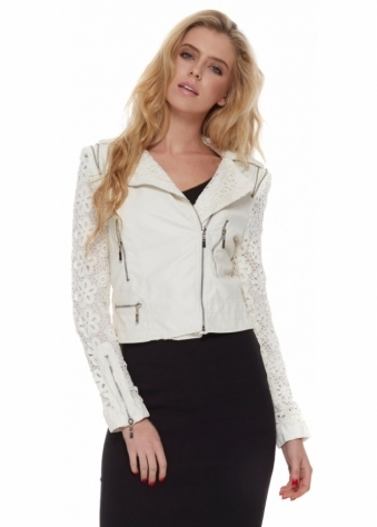 White Fitted Leather Biker Jacket With Lace Crochet Sleeves