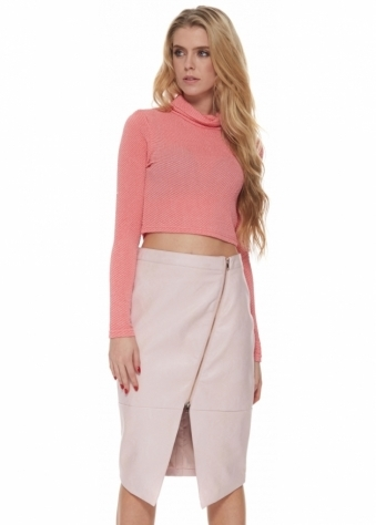Snakeskin Zip Front Pencil Skirt In Baby Pink