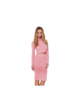 Pink Roll Neck Co-Ord Skirt & Top