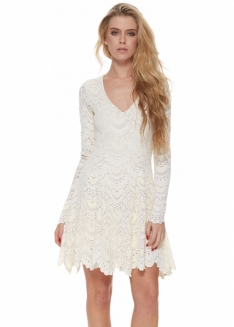 Spanish Lace Fit & Flare Dress In Ivory