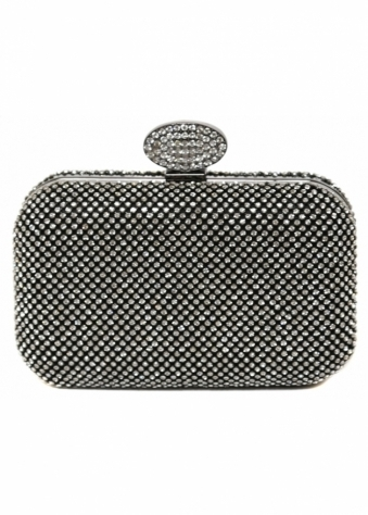 Designer Desirables Black Crystal Box Bag With Oval Crystal Fastening