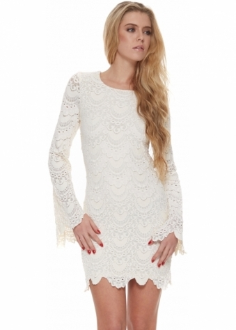 Tie Back Priscilla Dress In Ivory Spanish Lace