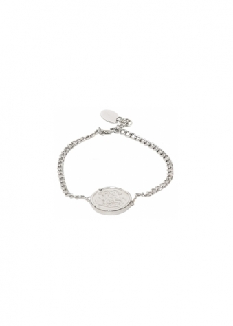 Sparkling Jewellery  Premium Single Coin Holly Bracelet In Silver