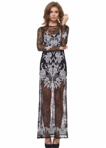 For Love & Lemons Lacey Dreams Long Sleeve Maxi Dress In Black