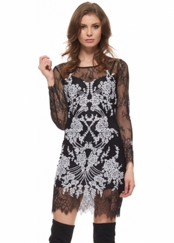 Lacey Dreams Long Sleeve Mini Dress In Black