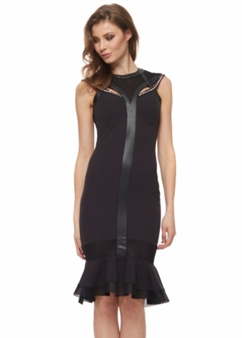Jewel Collared Mesh Kick Hem Black Midi Dress