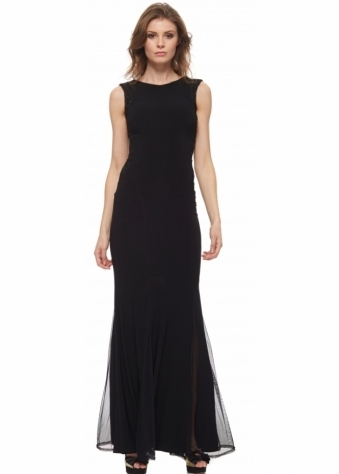The Little Black Dress Rita Dress With Low Back Sequinned Sides & Mesh Hem