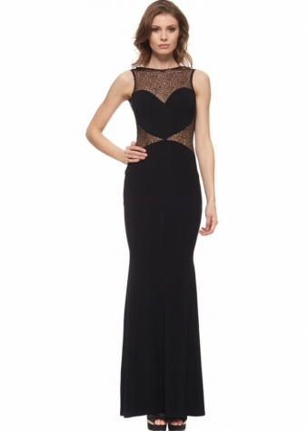 The Little Black Dress Jennifer Dress With Sheer Sequinned Bodice & Sides