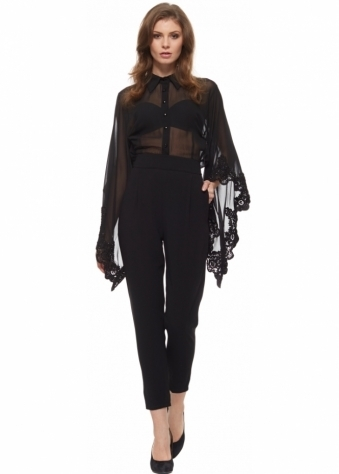 Party 21 Tailored Jumpsuit With Beaded Sheer Chiffon Blouson Top