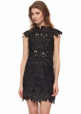 Piper Black Lace High Collar Mini Dress