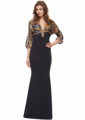 Megan Silk Antique Print Crystal Trim Black Evening Dress