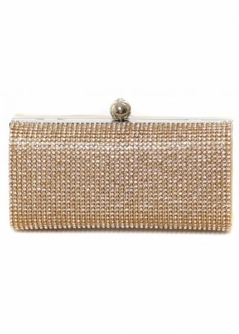 Designer Desirables Gold Sateen Crystal Embellished Evening Box Bag
