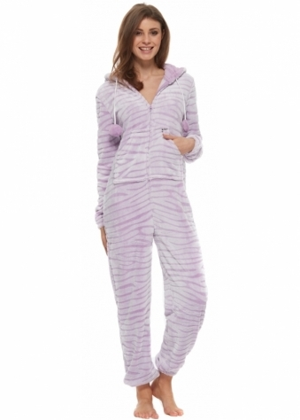 Designer Desirables Crystal Lilac Tiger Print Soft Fleece Onesie