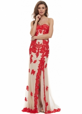 91084 Red & Nude Lace Strapless Evening Dress