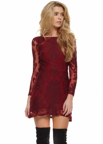 For Love & Lemons Night To Remember Dress Backless Crimson Mini